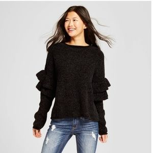 Mossimo Supply Co. Sweaters - Mossimo chenille ruffle sleeve black sweater M
